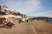 View along the promenade on the seafront at Lyme Regis,a popular seaside resort on Dorset's Jurassic Coast