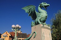 Slovenia, capital, center, Old Town, dragon bridge