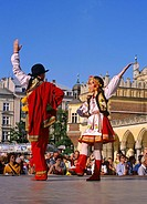 Poland, Krakow, Folk dance festival at Main Market Square