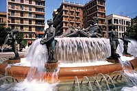 Spain. Comunidad Valenciana. Valencia.  Valencia Fountain in Virgin Square
