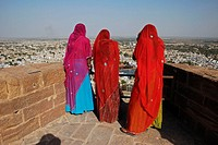 Women enjoying view from Mehrangarh Fort in Jodhpur  India