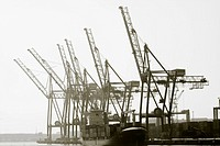 6 Cranes and cargo ship, port of Barcelona, Catalunya, Spain