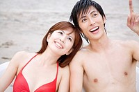Japanese couple in swimsuit
