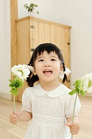 Girl having flower