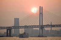 Yokohama bay bridge and Minatomirai buildings