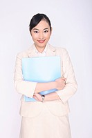 Business lady holding a file with both hands