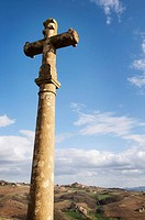 Cross at Sainte-Paule with Oingt in background, Beaujolais wine region. Rhône-Alpes, France
