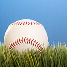 Studio shot of a baseball resting in grass.