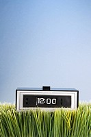 Studio shot of retro alarm clock placed in grass (thumbnail)