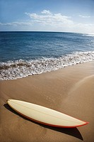 Surfboard on sandy beach with ocean in background (thumbnail)
