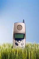 Studio shot of landline telephone placed in grass (thumbnail)