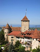 castle and citywall of Murten, Morat, canton of Fribourg, Switzerland