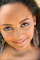 Close_up of young_adult Black woman making eye contact