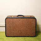 Still life of brown retro suitcase on green carpet