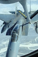 F_15 Eagle receives fuel from a KC_135 Stratotanker