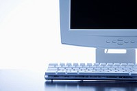 Still life of computer monitor and keyboard
