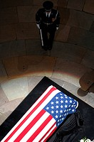 U.S. Air Force Honor Guardsman stands watch over the casket of former President Gerald R. Ford