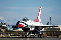 A Thunderbird taxies to its parking spot during an arrival ceremony