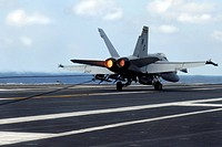 F/A_18C Hornet successfully lands on the flight deck