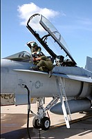 Systems test on an F/A_18 Hornet at Marine Corps Air Station