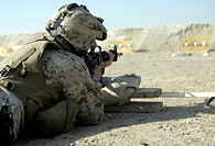 Corpsman fires his M16A2 service rifle
