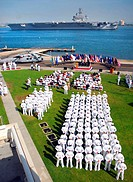 U.S. Navy Sailors attend an establishment ceremony