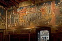 europe, italy, siena, city hall palace, museo civico, il buon governo by ambrogio lorenzetti AD 1340