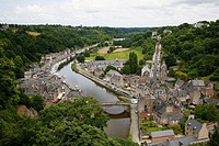 View over La Rance river and the port of Dinan, Brittany, France