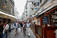 People at the old town of Saint Malo, Brittany, France