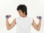 dumbbell, asian, holding, exercise clothing, exercise, half length portrait
