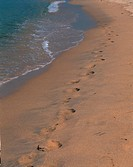 footmark, sand, wave, gold, plain, nature
