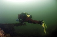 Diver on British Blockship Ilsenstein, Scapa Flow, Orkney islands, Scotland, UK (thumbnail)