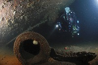 Under big gun of German Battleship Markgraf, Scapa Flow, Orkney Islands, Scotland, UK