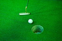 ball, leisure, putter, club, golf, hole, sports