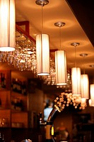 Ceiling lamps in western restaurant with luxury style, in a row
