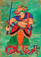 sword, dragon, warrior, clothes, tradition, anthropomorphic, animal