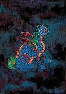 tradition, blue, painting, dragon, tiger, myth, animal