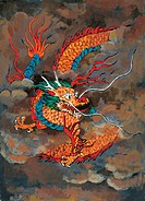 myth, dragon, painting, clothes, tradition, mythical, animal
