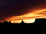 Scenic sunset landscape of mesas in Monument Valley near the border of Arizona and Utah, United States