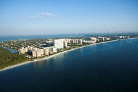 Aerial view of resort buildings on Key Biscayne beach, Florida