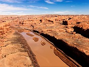 Aerial landscape of river in Canyonlands National Park, Moab, Utah, United States