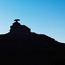 Silhouette of Mexican Hat rock formation in Utah