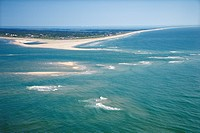 Scenic aerial seascape of beach and island at Baldhead Island, North Carolina