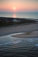 Scenic aerial view of Baldhead Island, North Carolina beach at dusk
