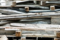 Pile of wooden posts, boards