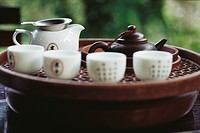 Chinese tea set on tea tray