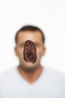 Fingerprint covering man's face