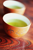 Green tea in ceramic tea cups