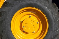 Brand new wheel on a construction vehicle