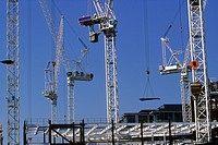 Tower cranes on large construction site